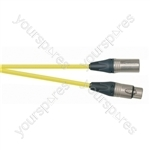 Professional 1m 3 Pin XLR Line Socket to 3 Pin XLR Line Plug Screened Patch Lead With Neutrik Connectors and European Cable - Colour Yellow