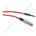 Standard Unbalanced 3 Pin XLR to 6.35 mm Jack Plug Microphone Lead 6M - Colour Red