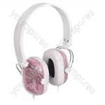 Digital Stereo Fashion Headphones With Volume Control - Colour Pink/White