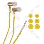 Thread-Wrapped Fashion Earphones  - Colour Yellow