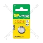 GP Lithium Button Cell Blister of 1 - Type CR2016-C1