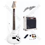 Johnny Brook Standard Guitar Kit with 20W Colour Coded Combo Amplifier - Colour White