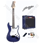 Johnny Brook Standard Guitar Kit with 20W Colour Coded Combo Amplifier - Colour Blue