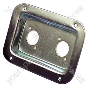 Punched Metal Connector Dish for 2x Female Chassis Mount Connectors