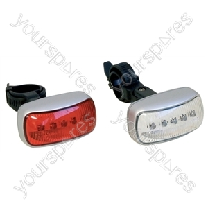 White Front LED Cycle Light and Red Rear LED Cycle Light Powered By 2x AAA Batteries