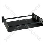 Steel Rack Tray with Adjustable Equipment Clamps and Fixings - Size 2U