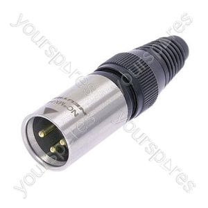 Neutrik NC3MX-HD-B Male 3 Pin XLR Line Plug Heavy Duty Waterproof IP68 Cable Connector With Gold Plated Contacts