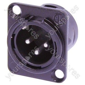 Neutrik NC3MD-L-BAG-1 Male 3 Pin XLR Chassis Socket With Silver Plated Contacts