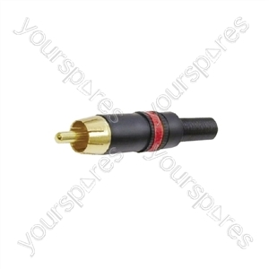 REAN NYS373 Phono Plug with Gold Plated Contacts and Colour Coded Ring  - Colour Black/Red
