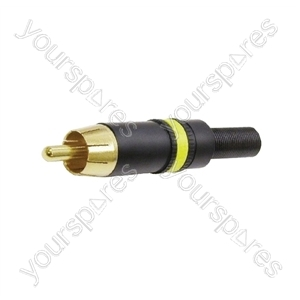 REAN NYS373 Phono Plug with Gold Plated Contacts and Colour Coded Ring  - Colour Black/Yellow