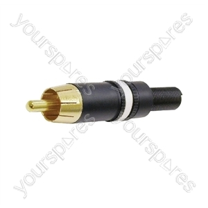 REAN NYS373 Phono Plug with Gold Plated Contacts and Colour Coded Ring  - Colour Black/White