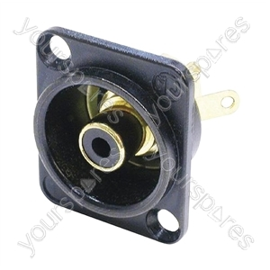 Neutrik NF2D Professional D Plate Mounted Phono Chassis Socket With Gold Terminals and Colour Coding - Colour Black/Black