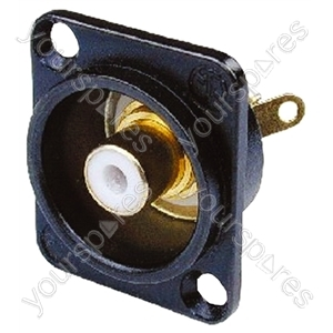 Neutrik NF2D Professional D Plate Mounted Phono Chassis Socket With Gold Terminals and Colour Coding - Colour Black/White