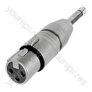 Neutrik NA2FP 3 Pin XLR Female to 6.35mm Mono Jack Plug Adaptor
