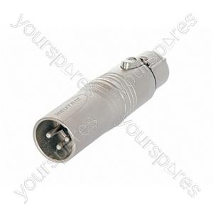 Neutrik NA3M5F 3 Pole Male XLR to 5 Pole Female XLR DMX Adaptor