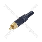 REAN NYS373 Phono Plug with Gold Plated Contacts and Colour Coded Ring  - Colour Black
