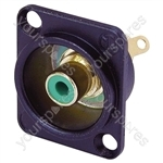 Neutrik NF2D Professional D Plate Mounted Phono Chassis Socket With Gold Terminals and Colour Coding - Colour Black/Green