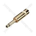 REAN NYS224AG 6.35 mm Mono Metal Jack Plug with Large Diameter Cable Entry and Gold Plated Contacts