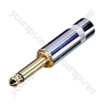 REAN NYS224G 6.35 mm Mono Metal Jack Plug with Large Diameter Cable Entry and Gold Contacts
