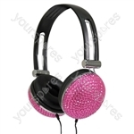 Stereo Headphones Pink Crystal Effect