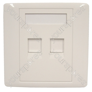 RJ45 Twin Shuttered Outlet Plate With Screws.