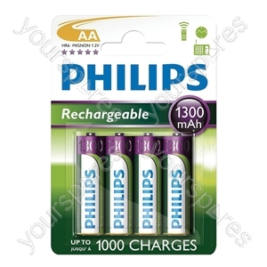 Philips Rechargeable Batteries (4 Pk) - Type AA