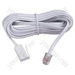 White 10 m UK Replacement telephone line cord