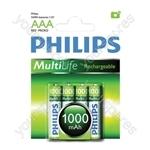 Philips Rechargeable Batteries (4 Pk) - Type AAA