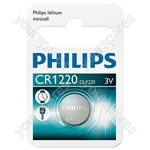 Philips Lithium Button Cell Blister of 1 - Type CR1220