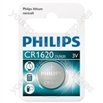 Philips Lithium Button Cell Blister of 1 - Type CR1620