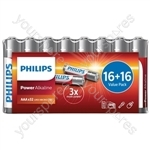 Philips Power Alkaline Batteries - Shrink Wrap Value Pack - Size AA