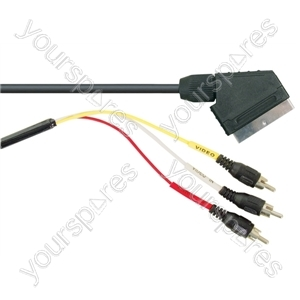 Standard Scart Plug to 3 Phono Plugs TV and Video Lead