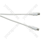 Standard Coaxial Plug to Coaxial Plug TV and Video Lead White - Lead Length (m) 2