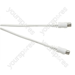 Standard Coaxial Plug to Coaxial Socket TV and Video Lead White - Lead Length (m) 2