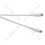 Standard Coaxial Plug to Coaxial Socket TV and Video Lead White - Lead Length (m) 7.5