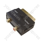Switched Scart Plug to 2 Gold Plated Phono Sockets Adaptor