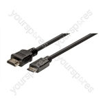 Standard 1.4 HDMI to Mini HDMI Lead. Contains HDMI Ethernet Channel (HEC). Compatible with 3D Video Formats - Lead Length (m) 1.5