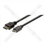 Standard 1.4 HDMI to Mini HDMI Lead. Contains HDMI Ethernet Channel (HEC). Compatible with 3D Video Formats - Lead Length (m) 2