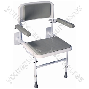 Solo Deluxe Shower Seat - Configuration With Padded Back & Seat