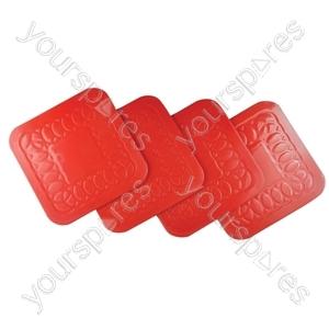 Tenura Anti Slip Silicone Rubber Square Coaster (Pack of 4) - Colour Red