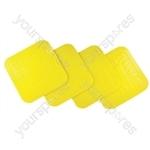 Tenura Anti Slip Silicone Rubber Square Coaster (Pack of 4) - Colour Yellow