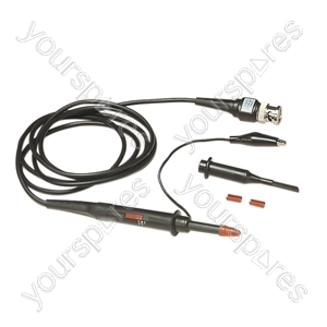 Black 1.5 m DC 60 MHz Oscilloscope Probe with Hook Clip and Cable Ident