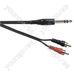 Standard 6.35 mm Stereo Jack Plug to 2x Phono Plugs Screened Lead