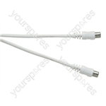 Standard Coaxial Plug to Coaxial Socket TV and Video Lead White - Lead Length (m) 1.5