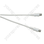 Standard Coaxial Plug to Coaxial Socket TV and Video Lead White - Lead Length (m) 4
