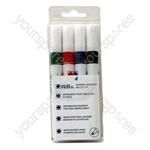 Dry Wipe Marker Pens - Assorted Colours - Pack of 4
