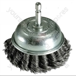 Twist Knot Brush - Cup Type With Quick Chuck End - 75mm