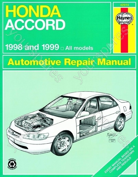 honda accord 1998 2002 car manual 42014 by haynes. Black Bedroom Furniture Sets. Home Design Ideas