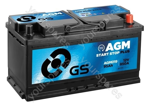 agm start stop plus battery 12v 95ah 850a agm019 by gs batteries. Black Bedroom Furniture Sets. Home Design Ideas