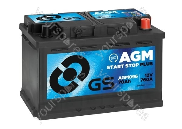agm start stop plus battery 12v 70ah 760a agm096 by gs. Black Bedroom Furniture Sets. Home Design Ideas
